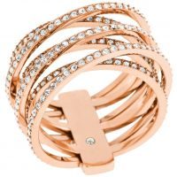Femmes Michael Kors PVD rose plating Statement Crossover Bague Taille P
