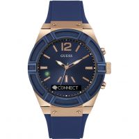 Unisex Guess CONNECT Bluetooth Blau & Rose Gold 45mm Smartwatch Uhr