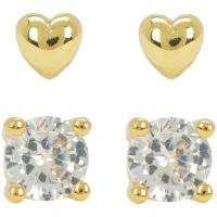 Damen Juicy Couture PVD Gold überzogen Juicy Expressions Herz Expressions Stud Ohrring Set